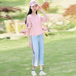 套装女学生2018新款韩版学院风少女初中生夏装休闲运动短袖两件套