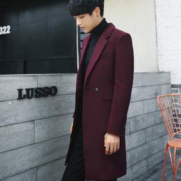羊绒大衣女中长款毛呢大衣男情侣装青年韩版修身英伦外套冬季风衣