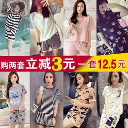 韩版女士短袖睡衣夏季可外穿宽松学生套头大码家居服春秋两件套装