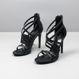 外贸大码性感细带超高跟女式凉鞋气质百搭细跟交叉带露趾罗马女鞋