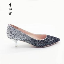 低跟婚鞋女新款5cm高跟鞋尖头细跟浅口单鞋渐变大码 小码定制女鞋
