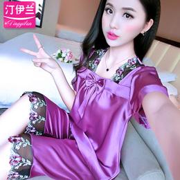 睡衣女夏套装短袖两件套冰丝韩版宽松大码蕾丝性感夏季家居服丝绸