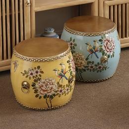 特价彩绘鼓凳新中式仿古做旧牛皮鼓/实木鼓凳复古鼓墩/绣墩换鞋凳