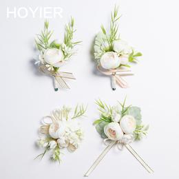 新品 韩式西式婚礼结婚新郎新娘胸花手腕花草坪户外清新白绿森系