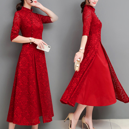 蕾丝旗袍裙子女2018新款女装春装时髦假两件套装长款连衣裙夏长裙
