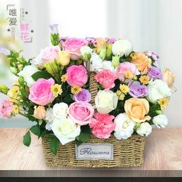 康乃馨玫瑰花束手提花篮开业鲜花同城速递成都郑州重庆上海北京