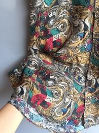 出口vintage复古着真丝异域印花桑蚕丝宽松大码衬衫男女中袖开衫