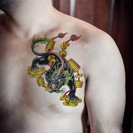 钱麒麟胸口纹身贴防水男 持久 花臂 胸部 腿部穷奇貔貅仿真刺青贴