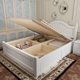 欧式实木高箱储物床1.8米双人地中海1.5单人床松木田园家具公主床