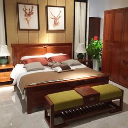 新中式刺猬紫檀实木床1.8米双人床主卧大床红木家具