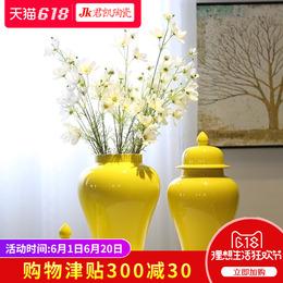 景德镇陶瓷新中式酒柜玄关花瓶台面装饰花插摆件将军罐花器装饰品