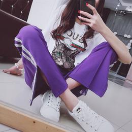 开叉亮片裤2018春夏新款紫色休闲裤女直筒阔腿长裤宽松百搭运动裤