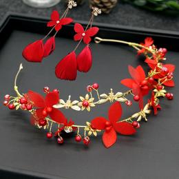 韩式新娘红色头饰头花配饰发饰品耳环结婚礼服花朵森系新婚发箍