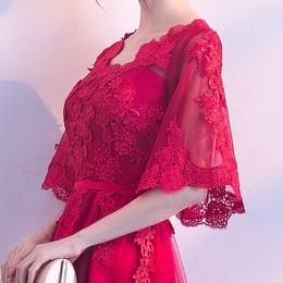 新娘敬酒服2018新款春季韩版优雅中长款结婚晚礼服连衣裙女夏红色