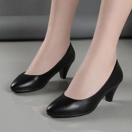 工作鞋女黑色正装高跟鞋女粗跟中跟单鞋圆头真皮礼仪上班职业女鞋