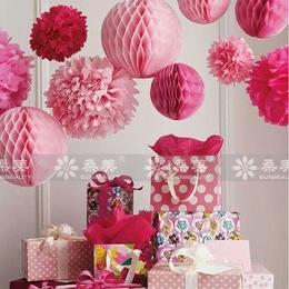 25cm纸花球拉花婚庆花球婚房装饰品布置幼儿园六一儿童节商场吊饰