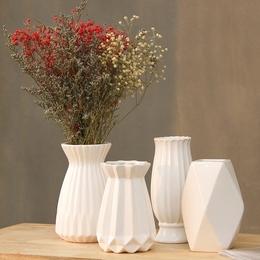 简约现代陶瓷花瓶客厅白色小清新干花插花创意家居装饰品花器摆件