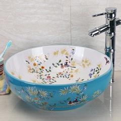 全国包邮 景德镇欧式风格洗手盆--洗脸盆-台上盆-洗面盆蓝白花鸟