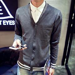 特贝凡西男毛衣韩版修身男士线衣针织衫男开衫外套v领男装毛衫潮