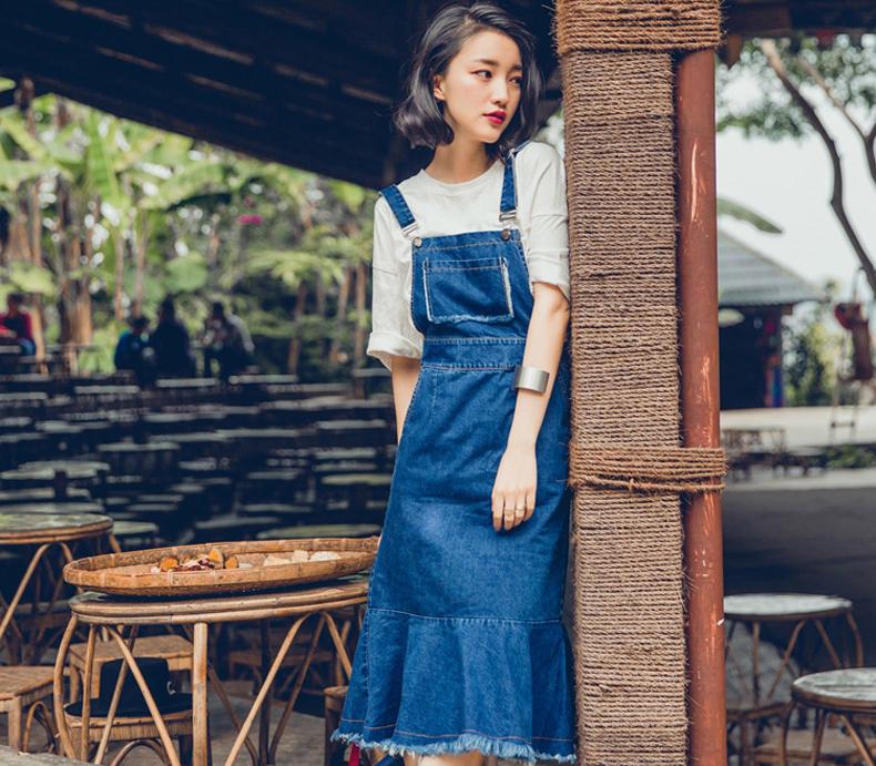 sennos zhou原创设计品牌2016年春季女装新品牛仔背带鱼尾裙半裙