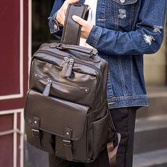 男士双肩包韩版潮休闲背包男包包电脑包大中学生书包时尚旅行包