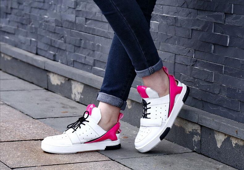 欧洲站2016春秋真皮平底休闲鞋女鞋 拼色小白鞋S家板鞋镂空单鞋潮