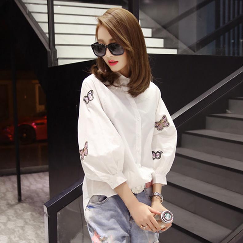 穿花点水白衬衫女士灯笼袖新款韩版学生上衣前短后长刺绣花衬衣潮