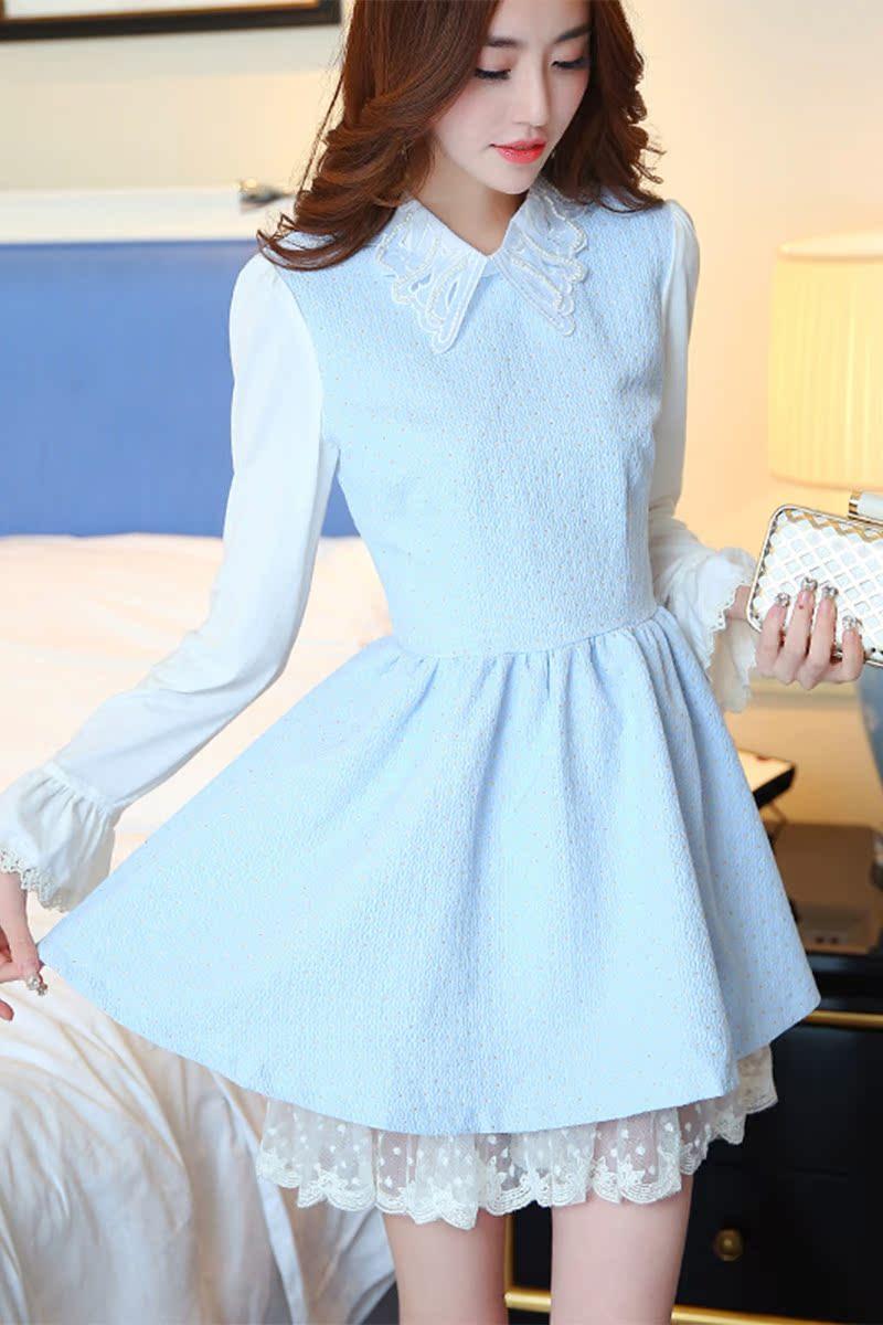 甜美优雅清新学生裙子春季女装单件小清新衣服春秋冬装新款连衣裙