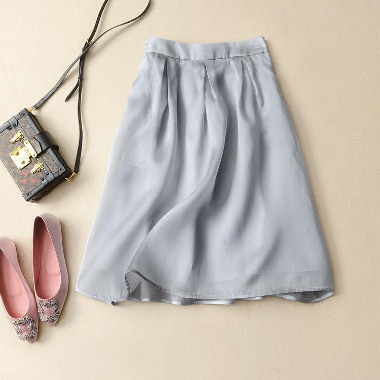 三色 简约的优雅美 柔滑挺括 真丝生丝缎伞裙半身裙 米虫爱吃米真丝半身裙