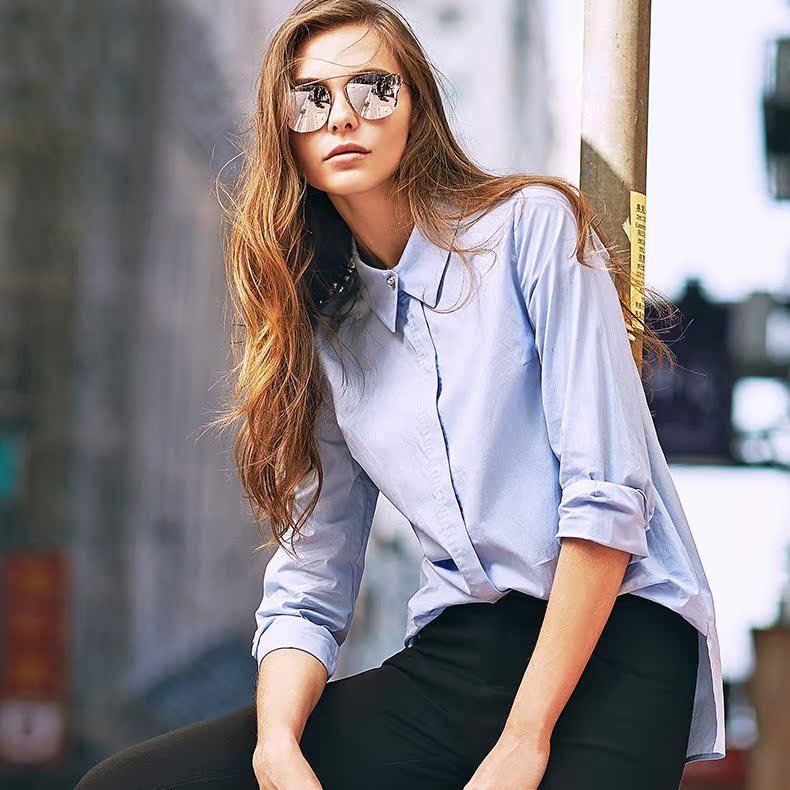 伊芙丽春秋装品韩版宽松中长款长袖衬衫打底蓝色女衬衣6580842216