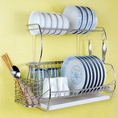 304不锈钢厨房置物架壁挂式碗架 挂墙双层碗碟架沥水架挂架
