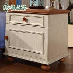 榆木拼色床头柜