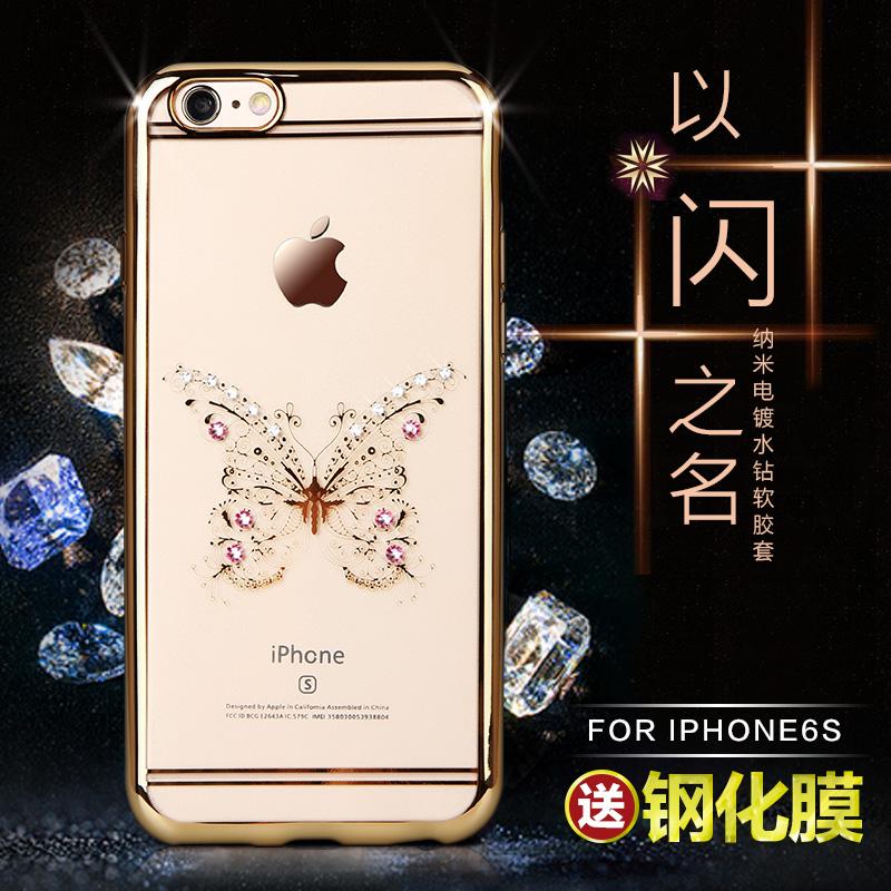 驰界 iphone6s 4.7手机壳透明新款硅胶水钻苹果6plus手机壳 女6s