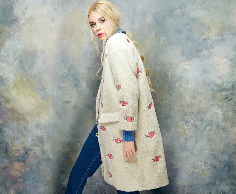 妖精的口袋栗子情书冬装甜美时尚刺绣长款欧美外套仿羊羔绒大衣女