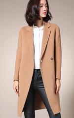高端手工双面羊绒大衣女215秋冬气质西装领茧型羊毛外套中长款