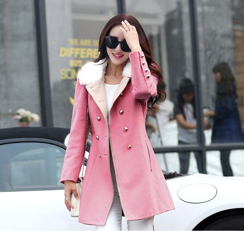 女士羊毛大衣2016春装新款女装毛呢外套女中长款修身韩版呢大衣女