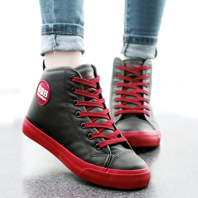 人本冬季女款棉鞋子高帮加绒女靴保暖短靴女韩版平底防水学生女鞋