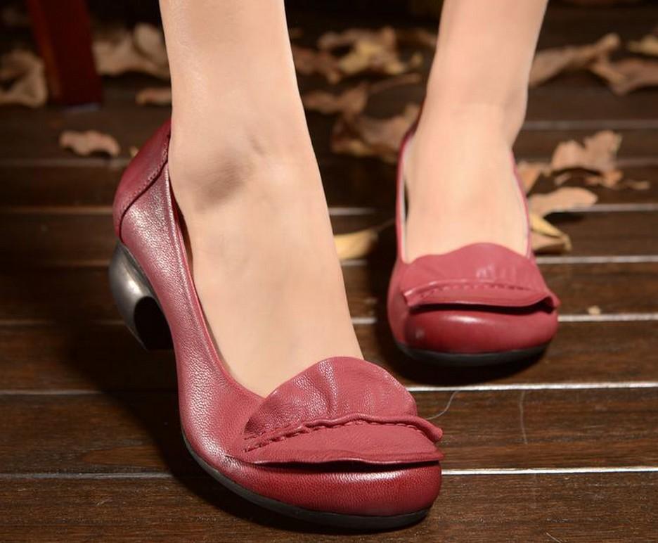 【体验秒杀】四起哥高端文艺手工鞋优雅真皮单鞋女舒适高跟女鞋子