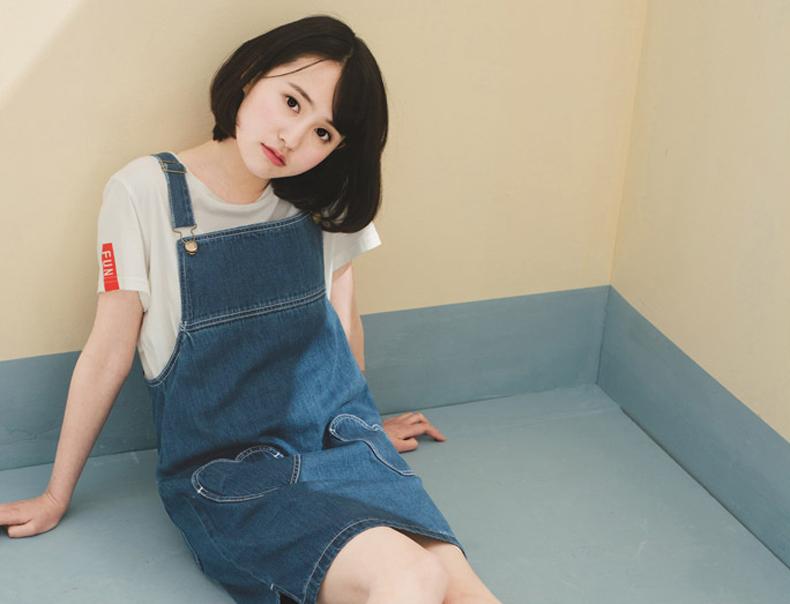阔色2016春装新款韩版原创设计女装心形口袋显瘦牛仔背带连衣裙