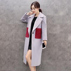 韩版中长款撞色口袋毛呢子大衣