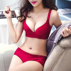 红色本命年无钢圈性感小胸女无痕文胸 舒适厚聚拢一片式内衣套装