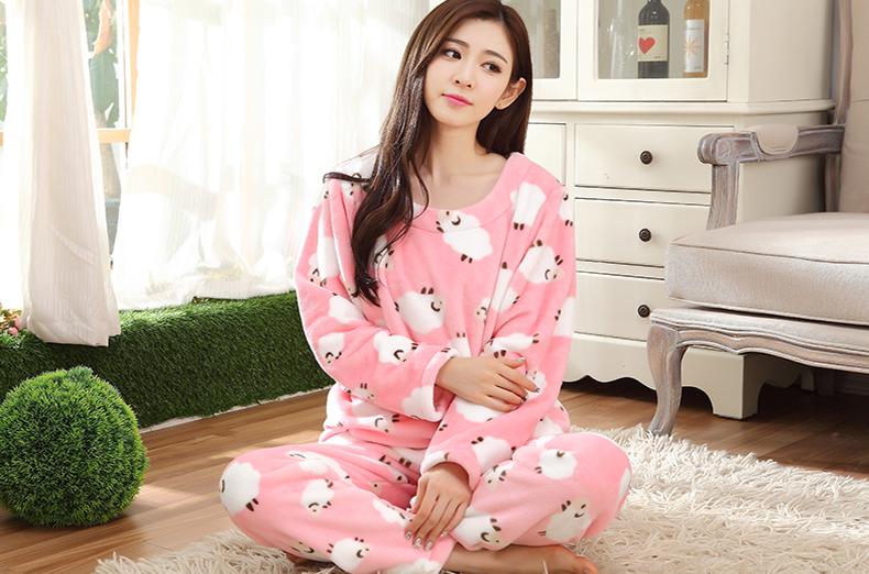 秋冬季韩版卡通女法兰绒套装珊瑚绒可爱女冬天睡衣加大码家居服