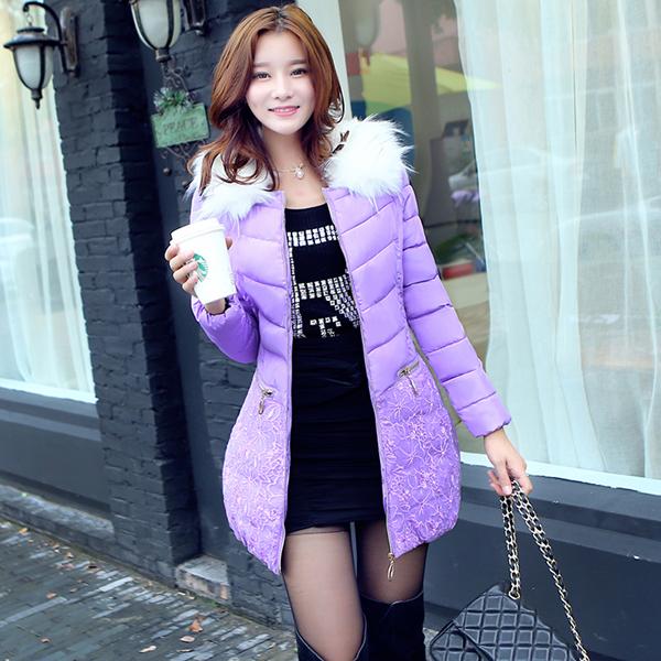 欧莲蝶 韩版中长款蕾丝棉服 拍下129元 赠运费险