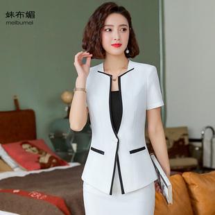 夏装薄款短袖女西装上衣外套职业装女装套装棉麻修身短款小西装