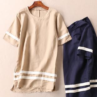 白边拼条夏季女装短袖棉麻连衣裙 宽松亚麻短裙子 B737
