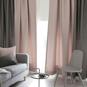 简约现代灰色遮光定制窗帘布 客厅卧室飘窗窗帘成品粉色ins北欧风