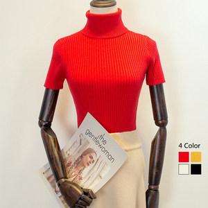 韩版温暖质感高领毛衣女厚修身短袖chic<span class=H>上衣</span>针织打底衫套头内搭洋