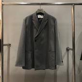 套装 错位戗驳领宽松西服外套直筒西裤 代购 韩国东大门男装 抖音同款
