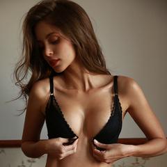 未满 性感文胸女无钢圈内衣聚拢薄海棉前扣式蕾丝胸罩薄杯法式
