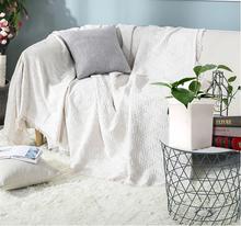 饰毯棉麻薄款 现代简约纯白色沙发巾床尾装 单层钢琴布全盖罩布外搭